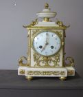 White marble French mantle clock For Asprey